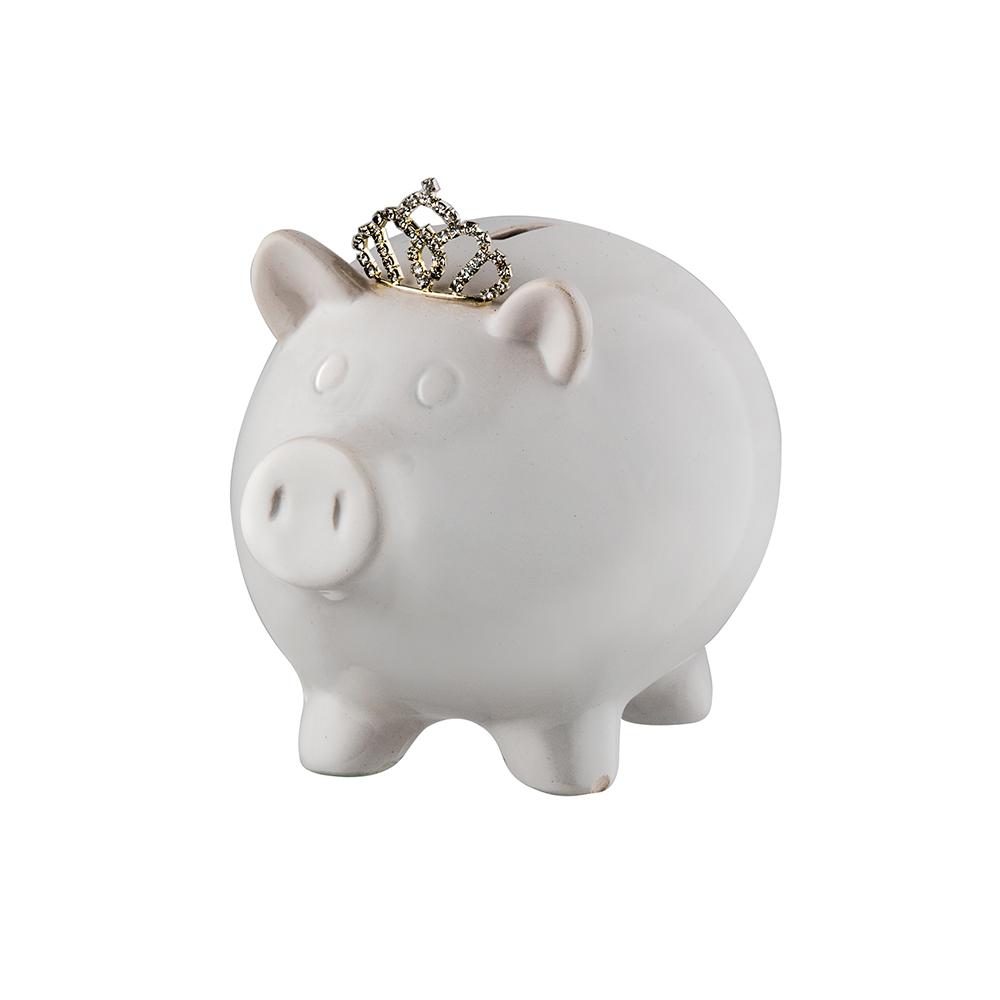 Prinz Princess White Ceramic Piggy Bank